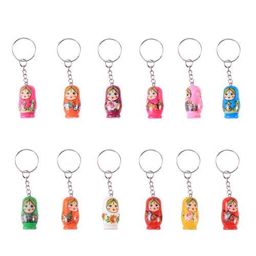 NUOLUX 12PCS Nesting Dolls Key Chains Wood Matryoshka Russian Dolls Key Rings Charms ()