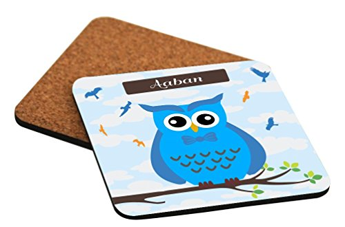 Rikki Knight Aaban Name Cute Blue Owl on Branch with Personalized Name Design Square Beer Coasters -