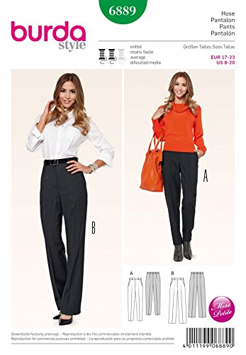 Burda Ladies Petite Size Sewing Pattern 6889 - Trouser Pants in 2 ...