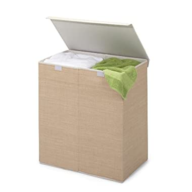 Honey-Can-Do HMP-01367 Two-in-One Double Resin Hamper with Cover, Natural, 2-Bin