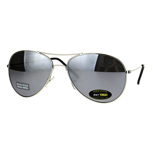 Silver Mirror Lens Classic Tear Drop Pilots Officer Metal Rim Sunglasses - Officer Sunglasses
