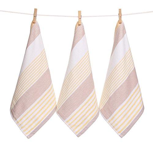 Zhenxinmei 3 Pack 100% Natural Cotton Cloth Square Towels 13