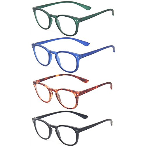 Reading Glasses 4 Pack Retro Round Frame Men and Women Plastic Glasses for Reading (4 Pack Mix Color, 1.5)