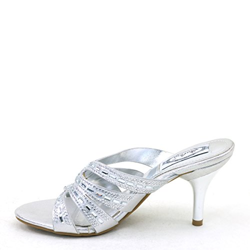 Silver Slide Sandals Shoes Heel Womens Sexy Mid Rhinestone Brieten qwB148n