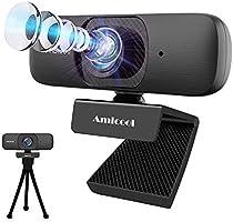 Amicool ウェブカメラ C60 フルHD 1080P 30FPS 200万画素 120°超広角 マイク内蔵 自動フォーカス 自動補正 シンプル設計 エレコム ウェブカム 小型 Webカメラ 外付け USBカメラ pcカメラ マイク付き...