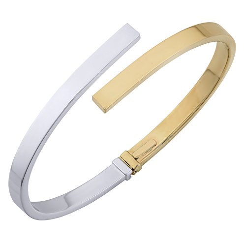 Kooljewelry 14k Two-Tone Gold 5mm High Polish Bypass Bangle Bracelet ()