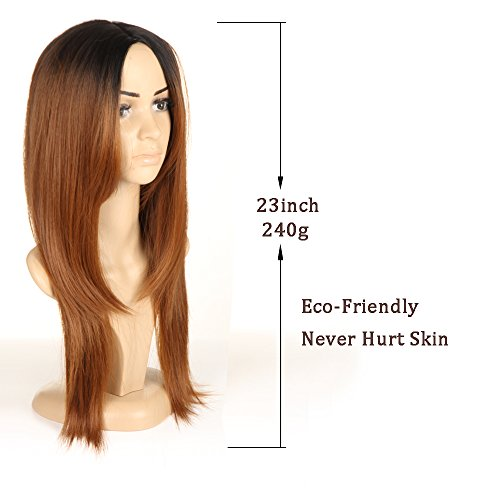 Brown Ombre Wigs For Women Long Straight Wigs Black Roots Wig by Ifolder (Image #1)