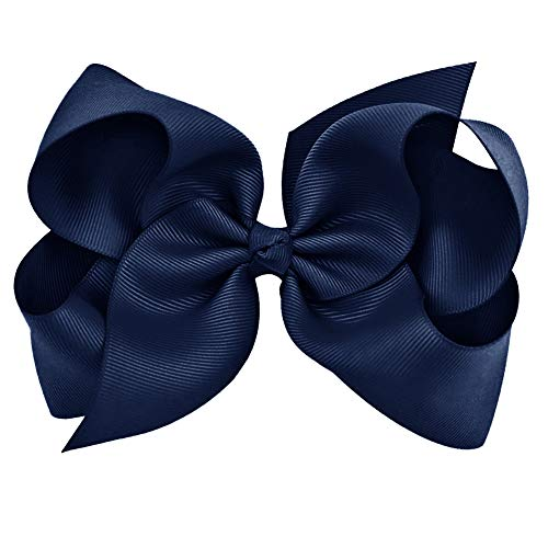 Navy Grosgrain Bow Clip - Extra Large Bows with Alligator Clips by CoverYourHair