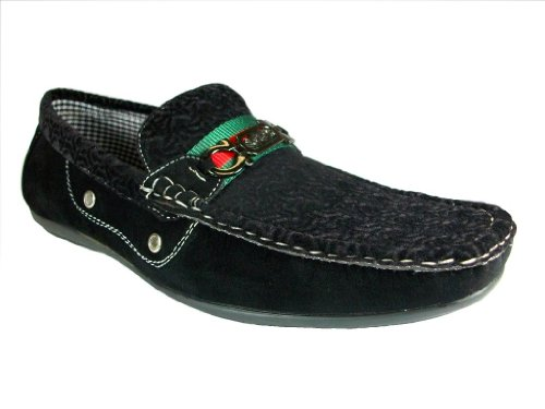 Mens L337 Velour Horsebit Slip On Mocassino Scarpe Nere