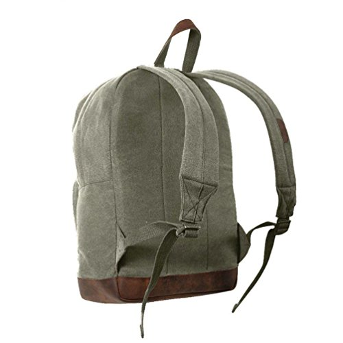 Vintage Canvas Teardrop Backpack W/ Leather Accents 9' Leather Combat Boot