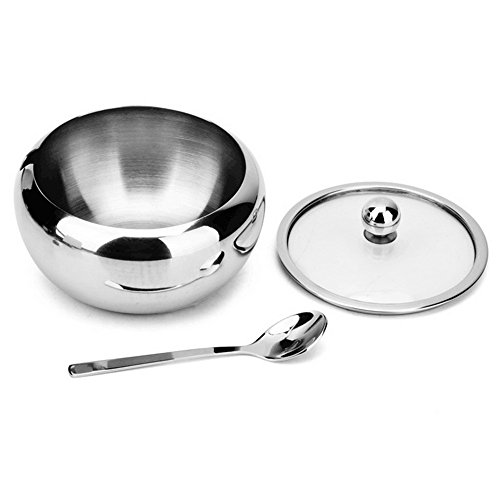 Sissiangle Sugar Bowl, Stainless Steel Sugar Bowl with Toughed Glass Lid (for clearly recognize volume) and Sugar Spoon, Drum Shape, 12.7 ouces (560 Milliliter) by Sissiangle (Image #4)