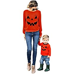Happy Halloween, Mchoice Halloween Family Clothes Mother Parent-Child T-shirt Tops Blouse Matching Outfit (Age:0-1 Years old, A)
