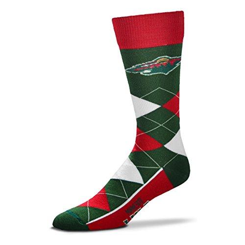 For Bare Feet NHL Argyle Lineup Unisex Crew Dress Socks-One Size Fits Most-Minnesota Wild