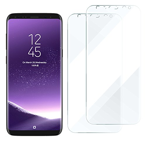 Galaxy S8 Screen Protector, 100% Case Friendly Full Coverage Edge to Edge Curved Fit No Lifted Anti Scratch Self-healing Bubble-Free HD Clear 3D Soft Tpu Skin Film for Samsung Galaxy S8 -2 Pack