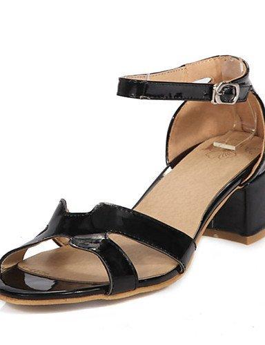 Ouvert Et Noir Chaussures Cuir Shangyi Bureau Bout À En Noir Sandales Chunky Rose Blanc Talon Robe Femmes Carrière Casual De Verni wwFvO1q