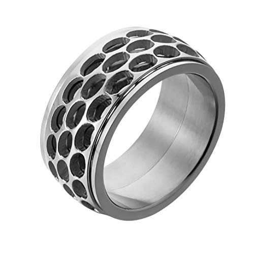 ZOBDX Sterling Silver Spinner Ring Band for Men and Women Handmade Unique Thumb Ring Natural Open Honeycomb Bee Jewelry (Silver, 10)