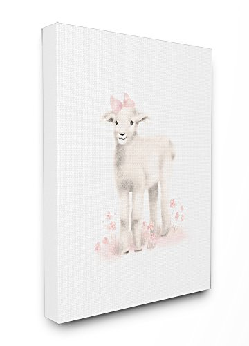 Stupell Industries Sweet Baby Lamb with Pink Bow Oversized Stretched Canvas Wall Art, 24 x 1.5 x 30, Proudly Made in USA (Ornaments Lamb)