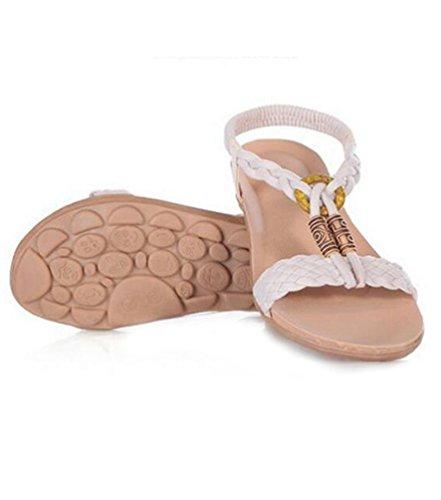 YOUJIA Frauen Flach Boho Slingback Peep Toe Strand Schuhe mit Perlendekor Knöchelriemen Sandalen Weiß