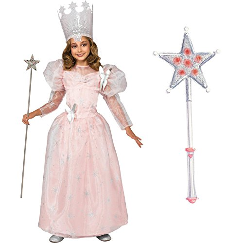 Wizard of Oz Glinda the Good Witch Costume Bundle Set - Child Small Costume and Wand