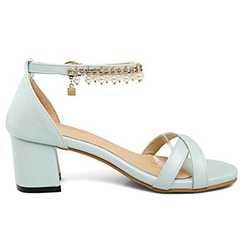 TAOFFEN Mujer Moda Punta Abierta Tacon Ancho Alto Sandalias Elegante Correa de Tobillo Zapatos con Perla Azul