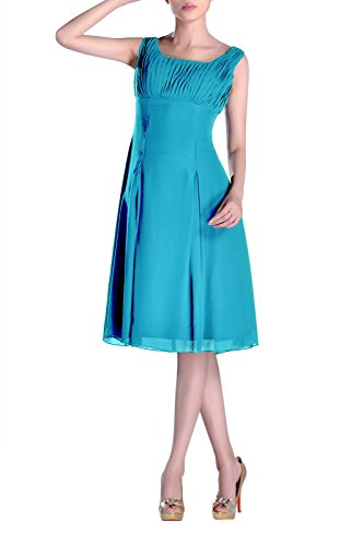 Dress Formal Cyan the Length Special of Bridesmaid Occasion Pleated Mother Brides Knee tdqt16p