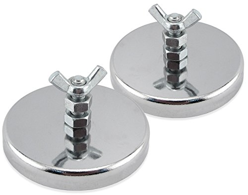 "Master Magnetics RB70B2NWX2 Ferrite/Low Carbon Steel Round Base Magnet Fastener with Bolt and Wing Nut, Chrome Plate, 2.65"" Diameter, 1.275"" Total Height, 65 lb., Silver (Pack of 2)"