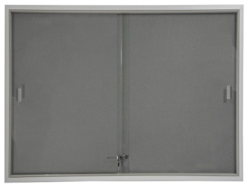 Displays2go 48 x 36 Inches Indoor Bulletin Board with Gray Fabric Backing, 4 x 3 Inches Enclosed Message Board with Locking, Sliding Glass Doors, Aluminum (FBSD43SVLG) Door Cork Board