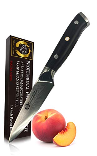 Paring Knife 3.5 inch by Koto Satori, 67 Layers Damascus blade, Japanese VG-10 Stainless Steel, Professional Chef Knife, Magnetic Saya Wood Sheath, G-10 Handle, Full Tang, Gift Packaging.
