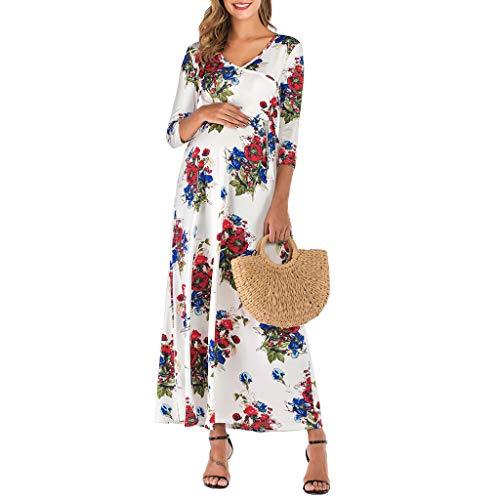 Nadition Pregnant Lady Sexy V-Neck Flower Print Maternity Dress Floral Dress -