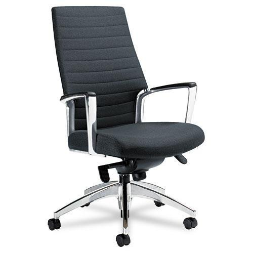 GLOBAL 2670LM445055 Accord Series High-Back Tilt Chair, Leather/Mock Leather, Black