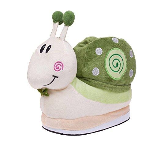 Enfants Chaussons chaleureux Chaud animaux d'hiver d'intérieur Doux Vert 3D confortable Chaussures Cartoon pantoufles qr4HSqx