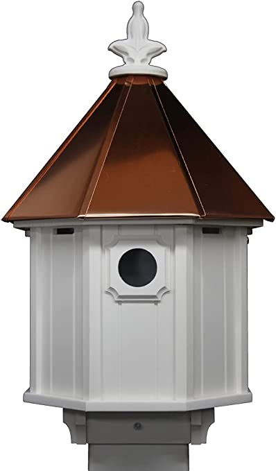 NC Birdguy Bluebird Songbird Duplex Bird House with Copper Roof, Made in The USA