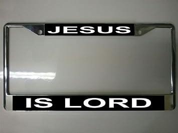 license plate frame black JESUS IS LORD