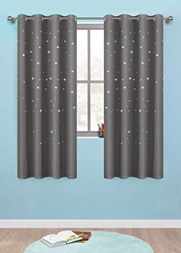 Anjee Twinkle Stars Curtains for Kids Room (2 Panels), Romantic Room Decoration Blackout Curtains, 52 Inches Wide by 63 Inches Long, Space Grey