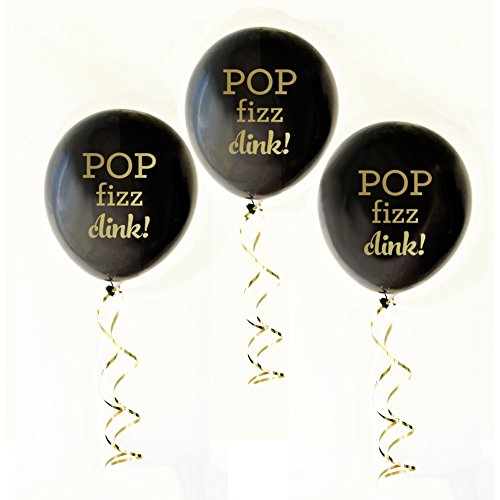 Black and Gold POP FIZZ CLINK Party Balloons (set of 3)]()