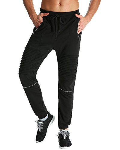 MODCHOK Men's Casual Joggers Drawstring Pants Sports Sweatpants Trousers Bottoms (XL, Black 1)