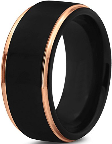 Midnight Rose Collection Tungsten Wedding Band Ring 10mm for Men Women 18k Yellow Gold Plated Step Edge Black Brushed Polished Size 7