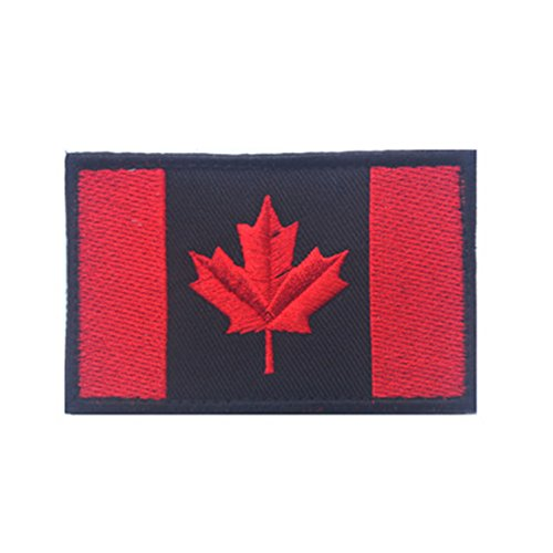 Toonol Embroidered Canada Flag Patch Army Hook & Loop Fasten Patch Tactical Military Patches National Emblem Canadian Maple Leaf Flag (Canada Flag Velcro)