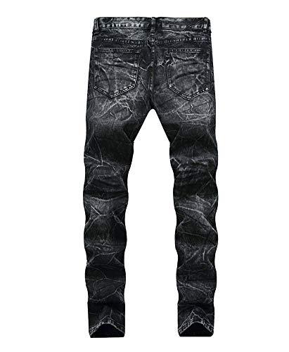 Retro Pantaloni Maschi Della Black Versaces Vita Nero Jeans Tempo Libero Fori Metà Dritto 4ZwtS