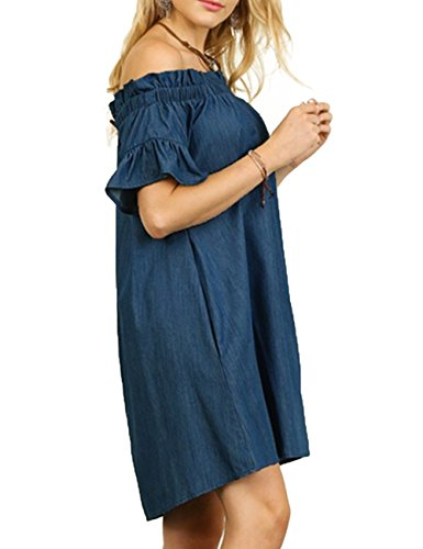 Piece One robe Navy Jean robe Femmes Cowboy Fashion Off courtes manches paule Sexy blue jupe O8gq0zwgt
