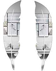 """CUNYA 3D Mirror Room Decor Stickers, 2 Set 12"""" x 49"""" Feather Shaped DIY Self-adhesive Acrylic Wall Art Decals, Home Decorations For Living Room, Bedroom, Farmhouse, Bathroom Decor (Left and Right)"""