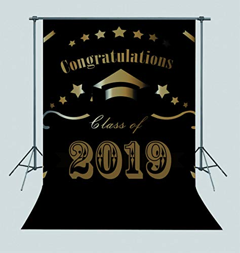 Qian 7x5ft Vinyl Black and Golden Theme Class of 2019 Photography Backdrops Congratulation Graduation Prom Party Decoration Photo Background Studio Props Banner