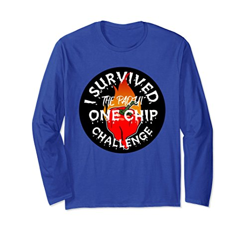 Unisex Paqui One Chip Challenge Ghost Pepper Long Sleeve Shirt 2XL Royal Blue Chip And Pepper Clothes