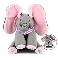MLSH Floppy The Peek A Boo Elephant,Interactive Plush Toy Stuffed Animal Doll for Infants, Adjust Volume Sings & Plays Gift for Baby Showers, Toddler Birthdays, Christmas Toys for Baby Birthday Gift