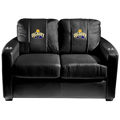 XZipit College Silver Loveseat with Albany University Logo Panel, Black