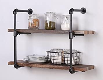 Homissue 2-Shelf Rustic Pipe Shelving Unit, Vintage Industrial Pipe Wall Shelf, Retro Brown