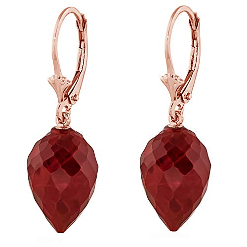 Earrings Briolette Ruby - Galaxy Gold 14k Solid Rose Gold Leverback Earrings with Drop Briolette Natural Rubies
