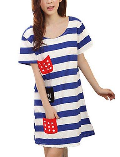 PU&PU Robe Aux femmes Ample Simple,Rayé Col Arrondi Au dessus du genou Coton , blue-2xl , blue-2xl