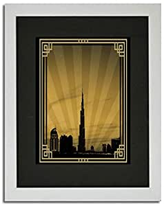 Dubai Skyline Down Town - Sepia With Gold Border No Text F02-m (a5) - Framed
