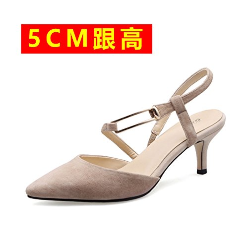 Apricot Women'S Shoes Pointed Empty Elegant High Sandals Baotou With High Heeled 5cm Fine The VIVIOO Shoes After High Sandals Spring Heeled Shoes Heeled zvnAxq1g